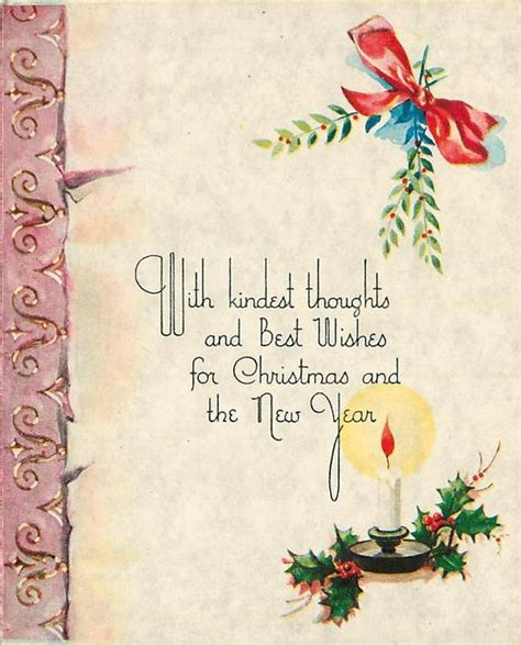 thought newyear related greeting card with kindest thoughts and best wishes for and the new year candlestick