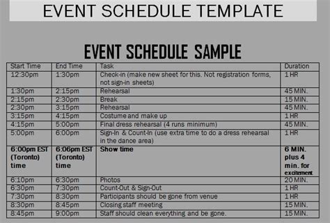 event schedule templates word excel samples