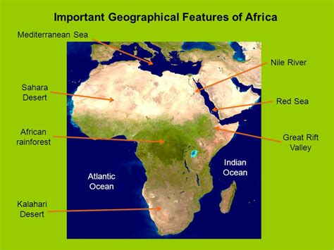 africa map geographical features important geographical features of africa ppt