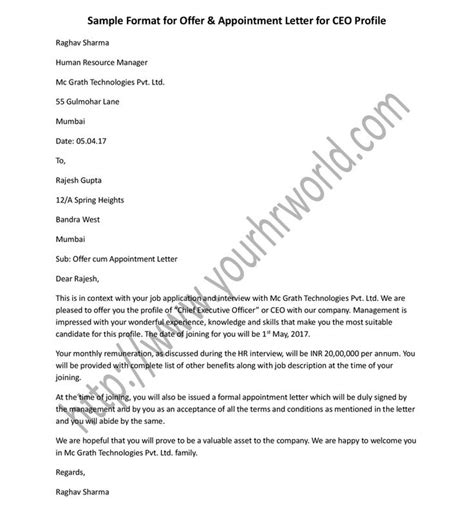 executive offer letter template 17 best ideas about format of formal letter on