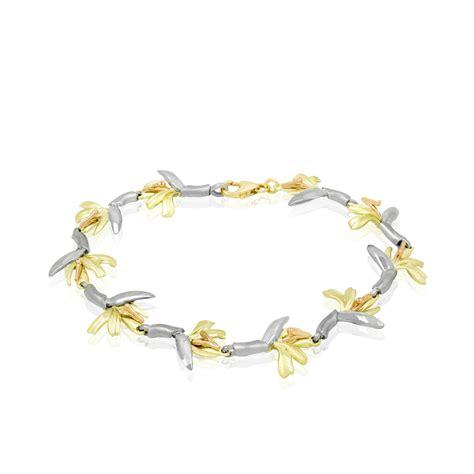 tri color gold bracelet 14k tri color gold bird of paradise bracelet