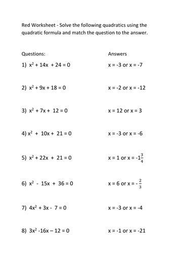 worksheets quadratic formula worksheet with answers