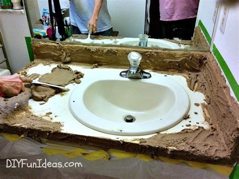 diy bathroom countertop ideas easy concrete overlay vanity makeover hometalk