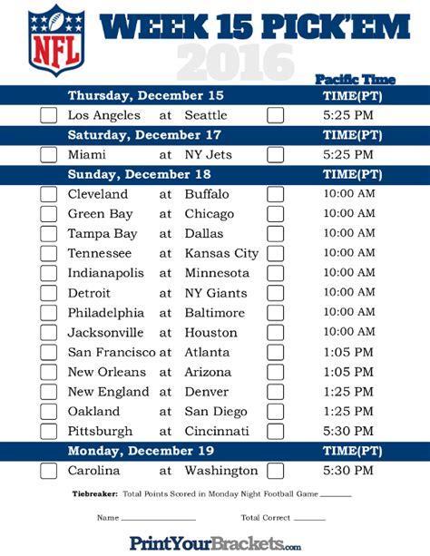 Nfl Week 14 Printable Schedule
