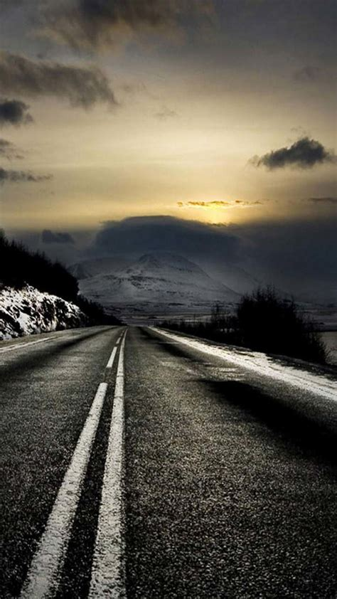 mountain road sunrise iphone   hd wallpaper ipod