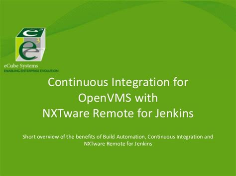 learning continuous integration with jenkins second edition a beginner s guide to implementing continuous integration and continuous delivery using jenkins 2 books continuous integration for openvms with jenkins