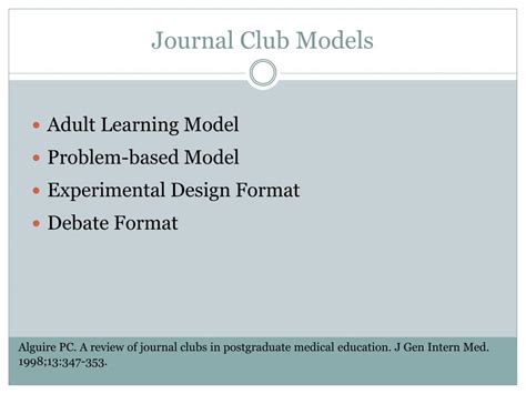 Ppt Conducting A Journal Club Powerpoint Presentation Id 293830 Journal Club Presentation Template