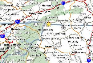map of virginia and carolina border high mountain cabins our location