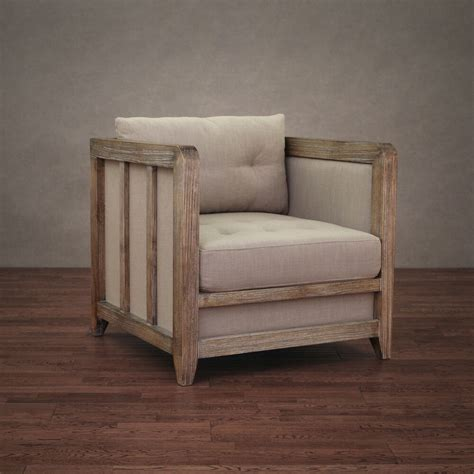 creston beige linen reclaimed finish arm chair accent decor furniture seat home ebay