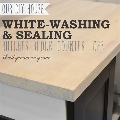 Painting Butcher Block Countertops - whitewash and seal a butcher block counter top the diy