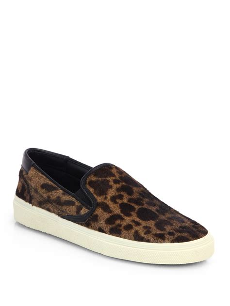 pony hair sneakers laurent leopard print pony hair skate sneakers in