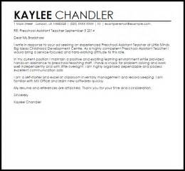 Kindergarten Aide Cover Letter by Preschool Assistant Cover Letter Sle Livecareer