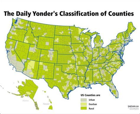 usa map states and counties the united states by rural and exurban counties