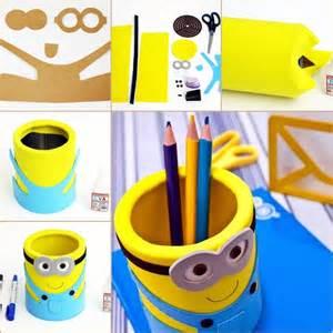 diy eva minion pencil organizer