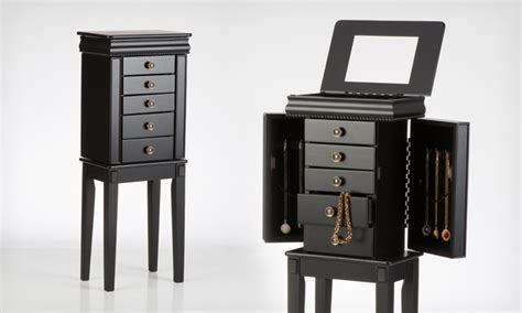black standing jewelry armoire 59 99 for a linon standing jewelry armoire groupon