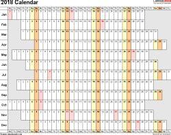 2018 calendar download 17 free printable excel templates