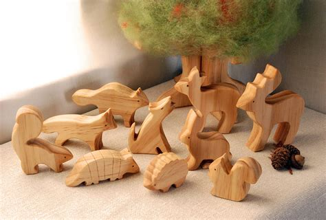 wood animal pattern carved wooden animals set of 10 waldorf inspired by