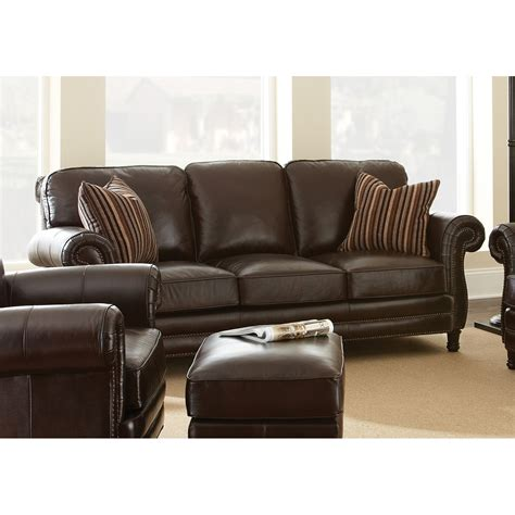 Leather Sofa Pillows Steve Silver Company Chateau Chocolate Brown Leather Sofa With Two Accent Pillows Ch860s The