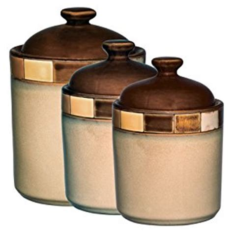 brown kitchen canisters amazon com gibson casa estebana 3 piece canister set beige and brown cookie jars kitchen