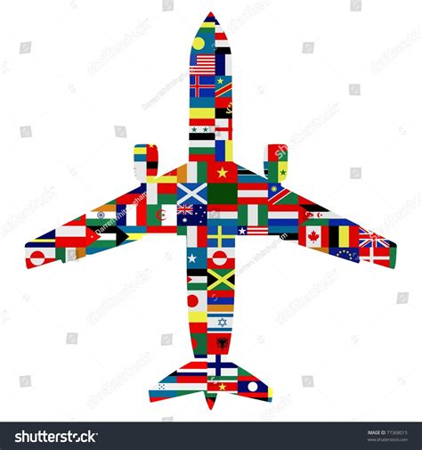 flags of the world x plane silhouette passenger plane world flags texture stock