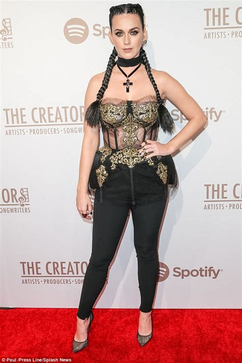 Heels Exclussive Katty Perry Black Gold katy perry wears sheer corset to pre grammys 2016 bash