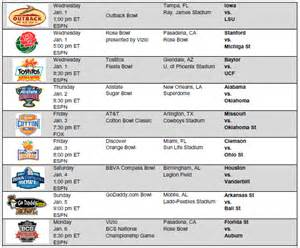 new years day bowl schedule 2013 bowl schedule and results college football