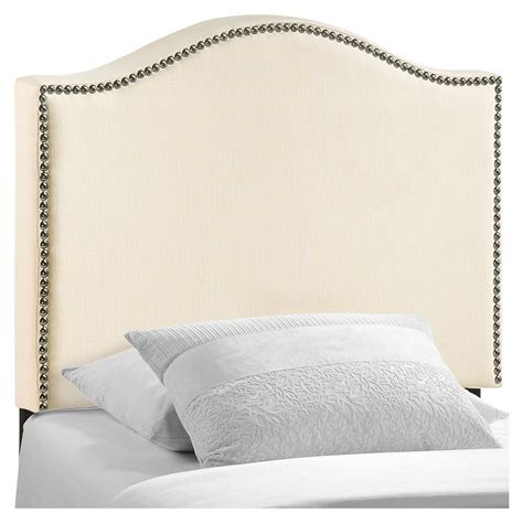 upholstered nailhead headboard curl twin nailhead upholstered headboard ivory dcg stores