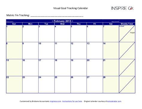 Calendar Goals 2015 Visual Goal Tracking Calendar