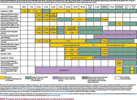 vaccination schedule chart pediatric vaccine schedule images