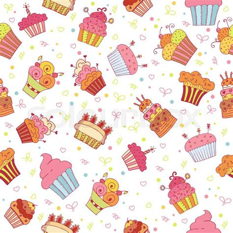 cake background pattern vector seamless pattern with cupcakes birthday party background