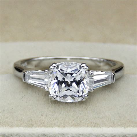 2ct cushion cut simple engagement ring 925 sterling silver
