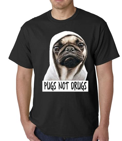 pugs and drugs t shirt pugs not drugs mens t shirt