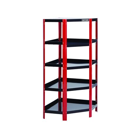 corner unit shelves craftsman 14904 corner steel shelving unit black