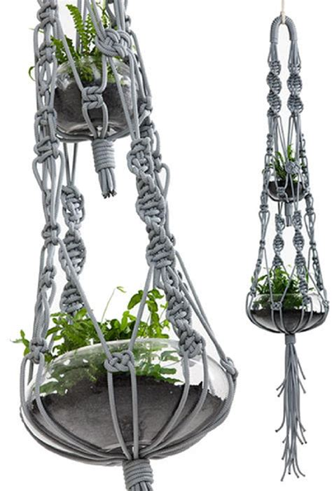Hanging Macrame Plant Holder - top 10 fancy ideas for macrame hanging planter top inspired
