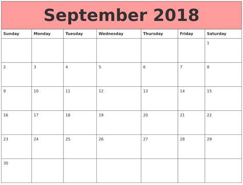 Calendars That Work With September 2018 Calendars That Work