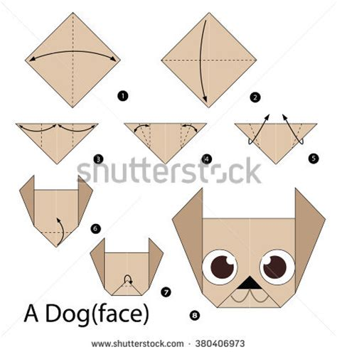 how to make an origami pug origami cat made recycle paper stock illustration 106549592