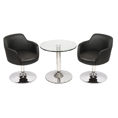 Glass Bistro Table And 2 Chairs Belize Glass Bistro Table In Clear And 2 Black Bucketeer Chairs For 163 219 95 Go Furniture Co Uk