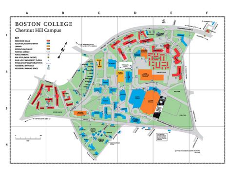 boston college map college boston college map
