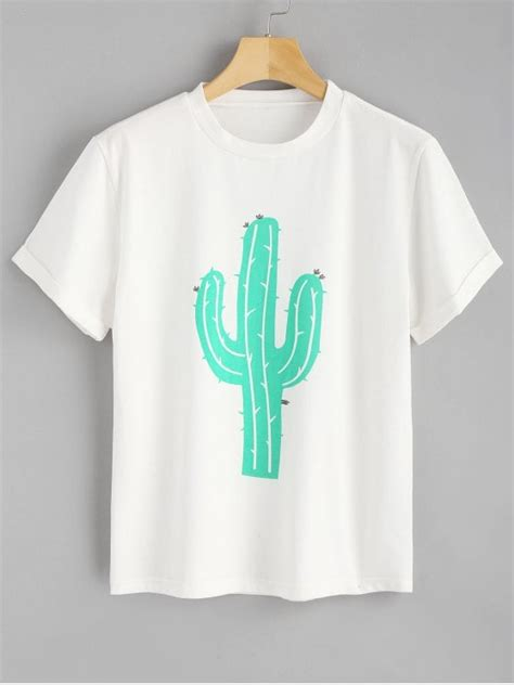 Sleeve Cactus T Shirt rolled up sleeve cactus t shirt white tees l zaful