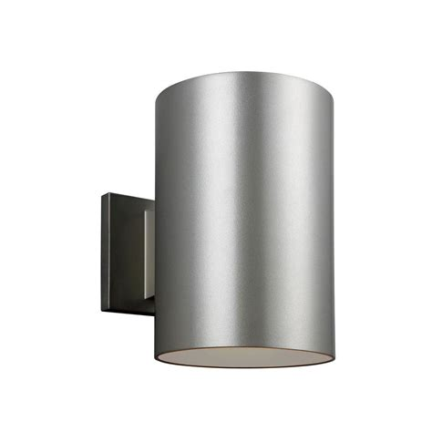Brushed Nickel Outdoor Light Fixtures Sea Gull Lighting Outdoor Cylinder Collection 1 Light Painted Brushed Nickel Outdoor Wall