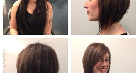 face slimming haircuts before and after before and after long to short hair done by kevay salon