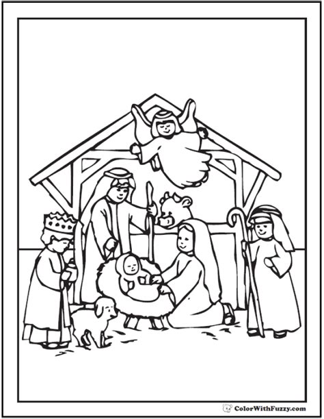 coloring page of angel and joseph christmas coloring pictures