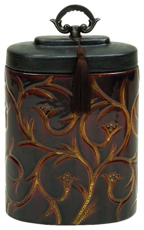 elegant kitchen canisters elegant brown ceramic jar gold floral design black lid