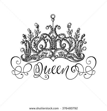 elegant handdrawn queen crown lettering graphic stock