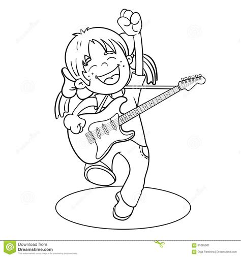 girl guitar coloring page coloring page outline of a cartoon girl with a guitar