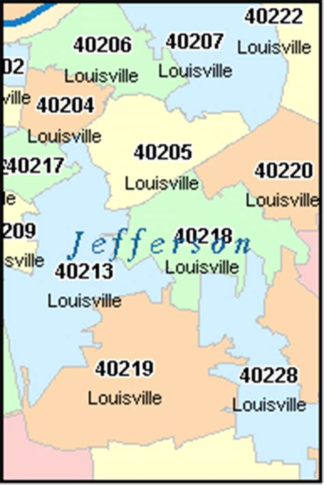 zip code map jefferson county ky jefferson county kentucky digital zip code map
