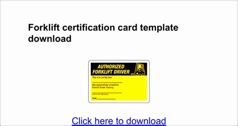 Forklift Operator Card Template by 7 Forklift Certification Card Template Taiyy Templatesz234