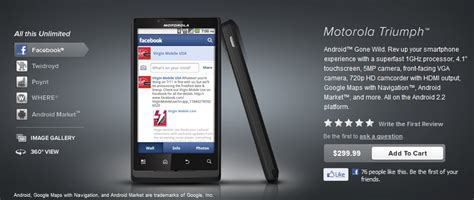 motorola mobile website mobile site updated with triumph pricing