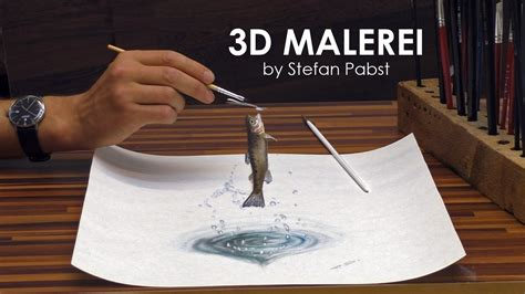 3d illusion l youtube 3d malerei illusion forelle speed painting drawing optical