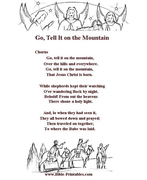 Printable Lyrics Go Tell It On The Mountain | children s song lyrics go tell it on the mountain